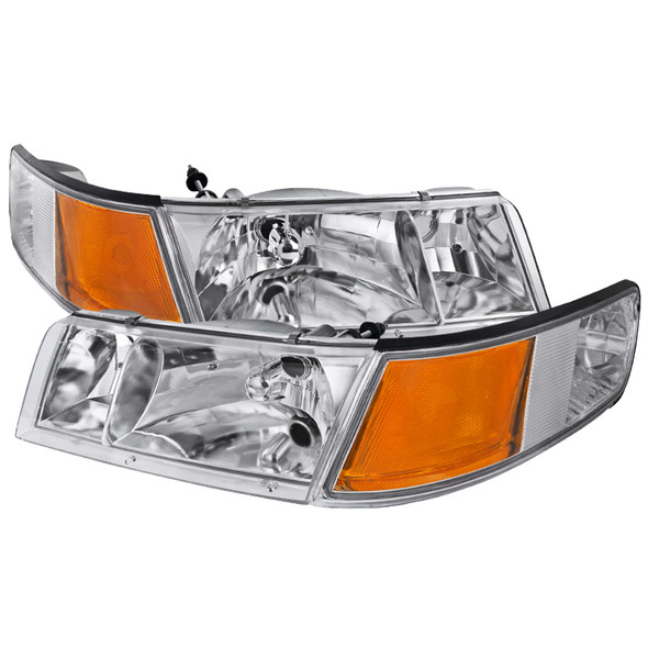 1998-2002 Mercury Grand Marquis Factory Style Crystal Headlights w/ Corner Signal Lights (Chrome Housing/Clear Lens)