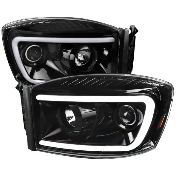 2006-2009 Dodge RAM 1500/2500/3500 Switchback LED C-Bar Projector Headlights (Jet Black Housing/Clear Lens)