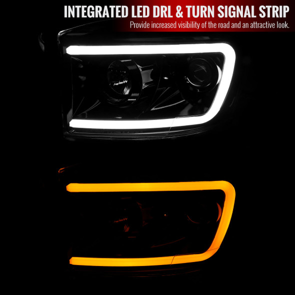 2006-2008 Dodge RAM 1500/ 2006-2009 2500 3500 Switchback LED C-Bar Projector Headlights (Jet Black Housing/Clear Lens)