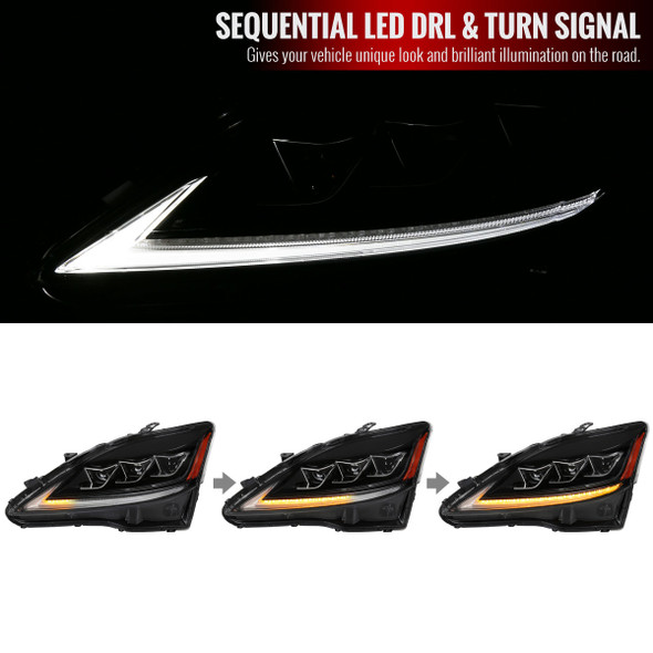 2006-2013 Lexus IS250/350/ISF Full LED Projector Headlights w/ Switchback LED Strip (Black Housing/Clear Lens)