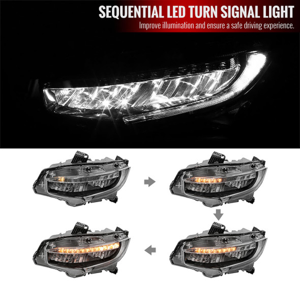 2016-2020 Honda Civic Full LED Headlights w/ LED Strip & Sequential LED Turn Signal Lights (Black Housing/Clear Lens)