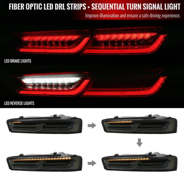 2016-2018 Chevrolet Camaro Sequential LED Tail Lights -VD (Chrome Housing/Smoke Lens)