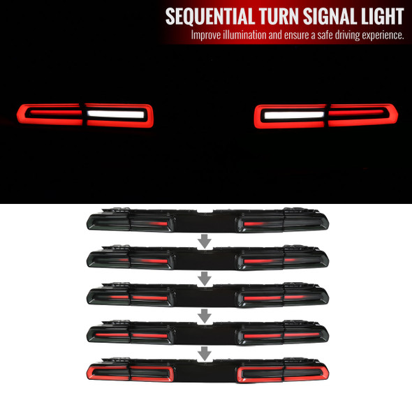 2008-2014 Dodge Challenger Sequential LED Tail Lights (Black Housing/Red Smoke Lens)
