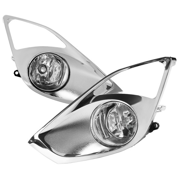 2013-2015 Toyota Avalon H11 Fog Lights Kit w/ Switch & Wiring Harness (Chrome Housing/Clear Lens)