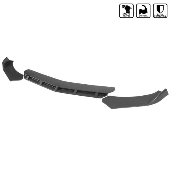 Universal Matte Black Polypropylene 3PC Front Bumper Lip Set