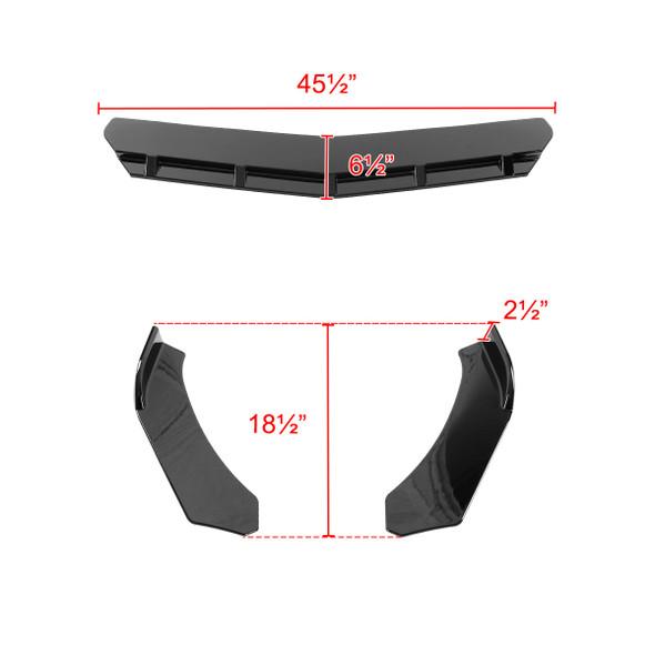 Universal 3PC Polypropylene Front Bumper Lips (Glossy Black)