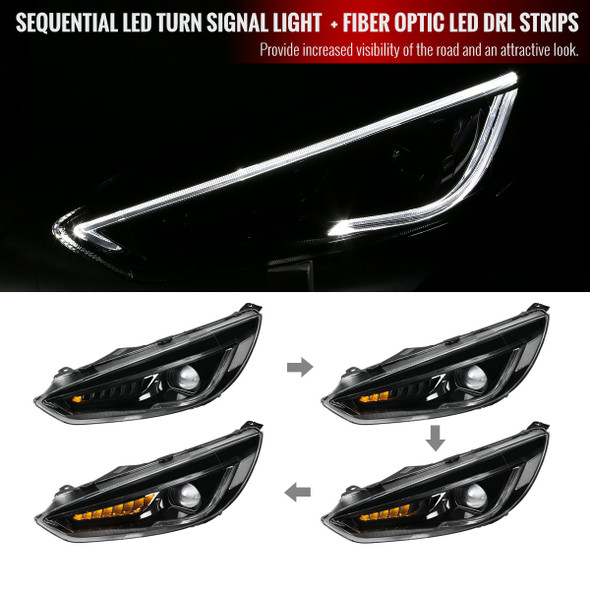 2015-2018 Ford Focus LED DRL Projector Headlights w/ LED Sequential Turn Signal (Matte Black Housing/Clear Lens)