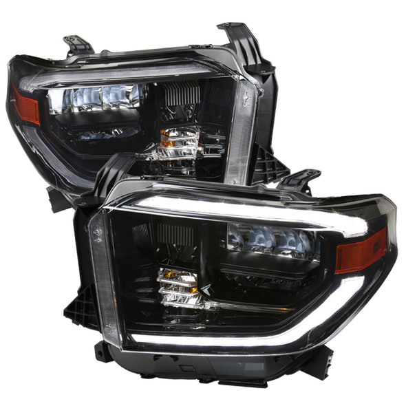 2014-2020 Toyota Tundra LED C-Bar Full LED Projector Headlights w/ Switchback Sequential LED Turn Signal Lights (Black Housing/Clear Lens)