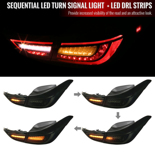 2011-2016 Hyundai Elantra Sedan LED Tail Lights w/ Sequential Turn Signal Lights (Glossy Black Housing/Smoke Lens)