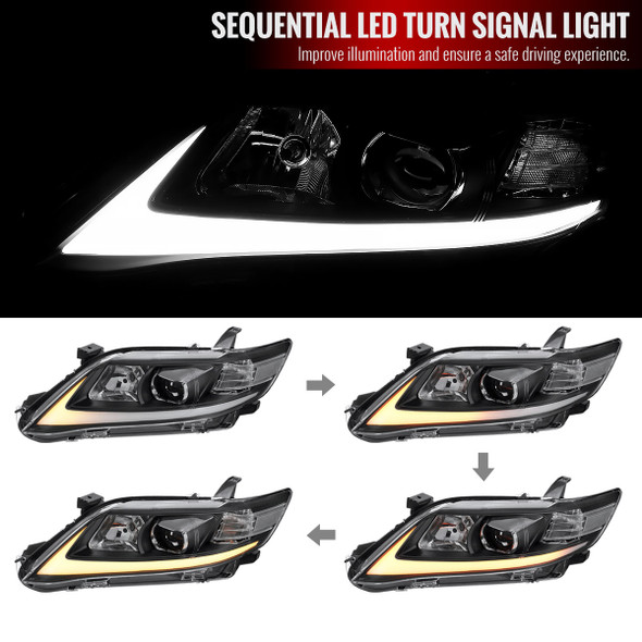 2010-2011 Toyota Camry LED Bar Projector Headlights w/ Switchback Sequential Turn Signals (Black Housing/Clear Lens)