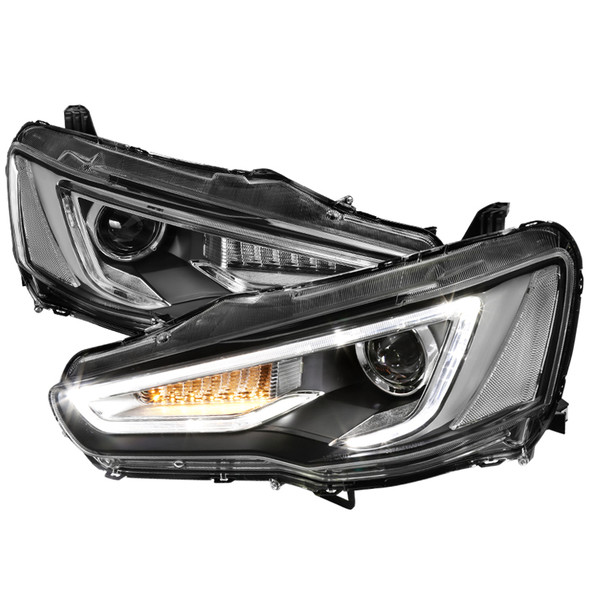 2008-2017 Mitsubishi Lancer/EVO X LED DRL Projector Headlights w/ Sequential LED Turn Signal (Black Housing/Clear Lens)