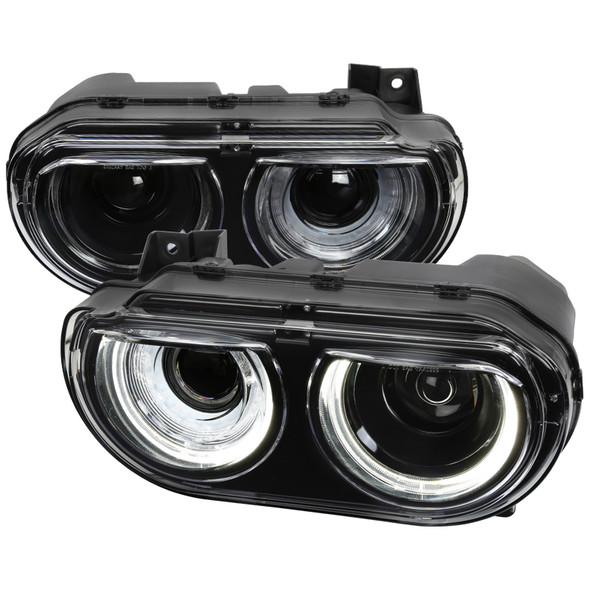 2008-2014 Dodge Challenger Dual LED Halo D2H Xenon Projector Headlights w/ LED DRL & Sequential Turn Signal (Black Housing/Clear Lens)