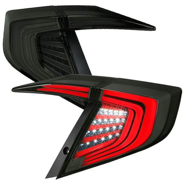 2016-2020 Honda Civic LED Tail Lights w/ Switchback Sequential Turn Signals (Chrome Housing/Smoke Lens)