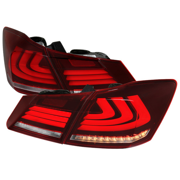 2013-2015 Honda Accord Sedan LED Tail Lights w/ Sequential Turn Signal Lights (Chrome Housing/Red Clear Lens)
