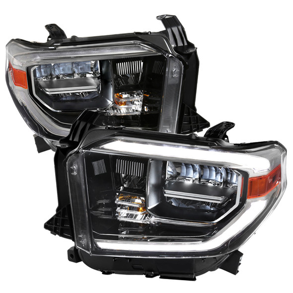2014-2020 Toyota Tundra LED C-Bar Full LED Projector Headlights w/ Switchback Sequential LED Turn Signal Lights (Chrome Housing/Clear Lens)