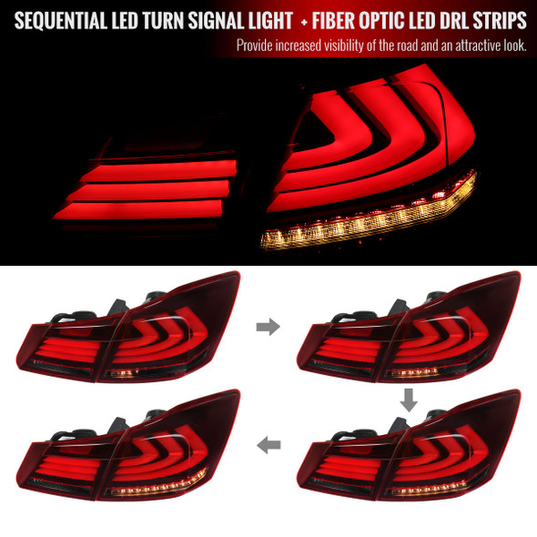 2013-2015 Honda Accord Sedan LED Tail Lights w/ Sequential Turn Signal Lights (Chrome Housing/Red Smoke Lens)