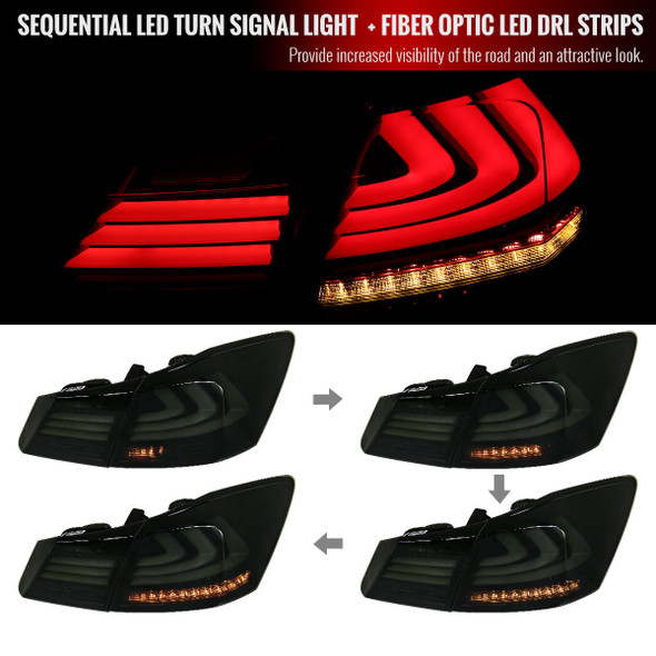 2013-2015 Honda Accord Sedan LED Tail Lights w/ Sequential Turn Signal Lights (Chrome Housing/Smoke Lens)