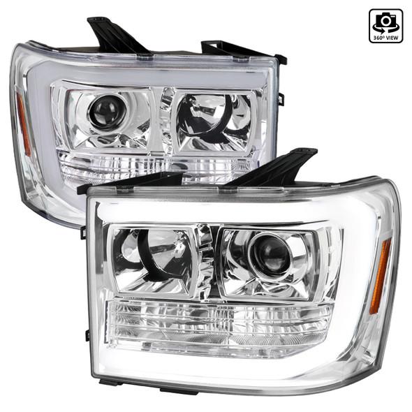 2007-2014 GMC Sierra 1500 LED C-Bar Projector Headlights (Chrome Housing/Clear Lens)