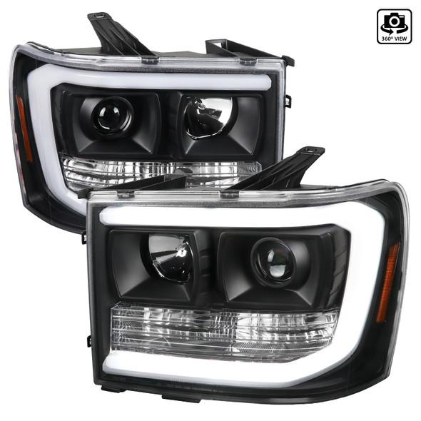 2007-2013 GMC Sierra 1500 / 2007-2014 Sierra 1500HD 2500HD 3500HD / 2009-2013 Sierra 1500 Hybrid LED C-Bar Projector Headlights (Matte Black Housing/Clear Lens)