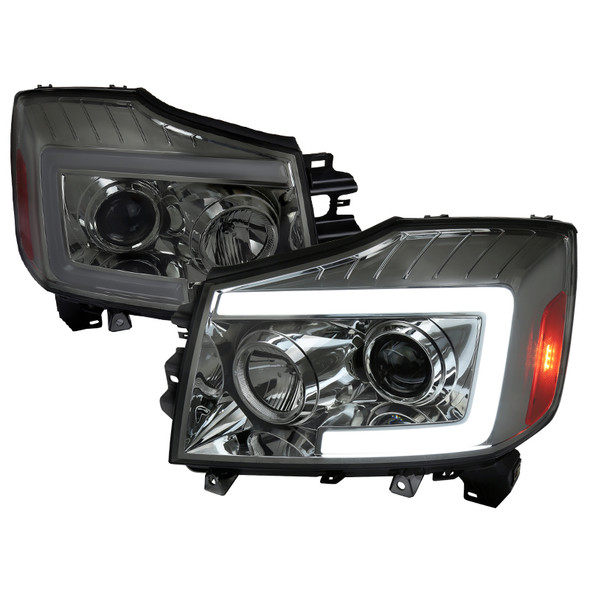 2004-2015 Nissan Titan/ 2004-2007 Armada LED C-Bar Projector Headlights w/ Switchback Sequential Turn Signals (Chrome Housing/Smoke Lens)