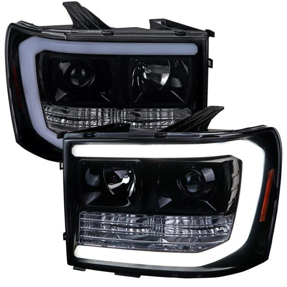 2007-2013 GMC Sierra 1500 / 2007-2014 Sierra 1500HD 2500HD 3500HD / 2009-2013 Sierra 1500 Hybrid LED C-Bar Projector Headlights (Glossy Black Housing/Smoke Lens)