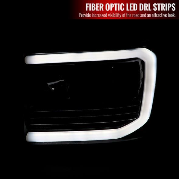 2007-2013 GMC Sierra 1500 / 2007-2014 Sierra 1500HD 2500HD 3500HD / 2009-2013 Sierra 1500 Hybrid LED C-Bar Projector Headlights (Jet Black Housing/Clear Lens)