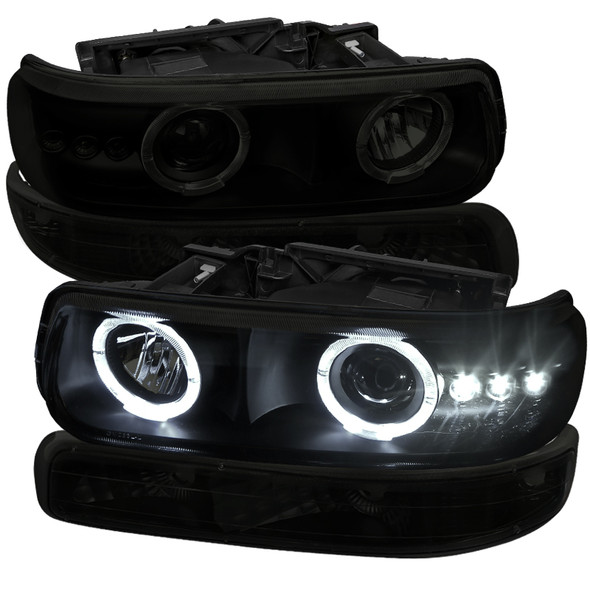 1999-2002 Chevrolet Silverado/ 2000-2006 Tahoe Suburban Dual Halo Projector Headlights w/ Bumper Lights (Black Housing/Smoke Lens)