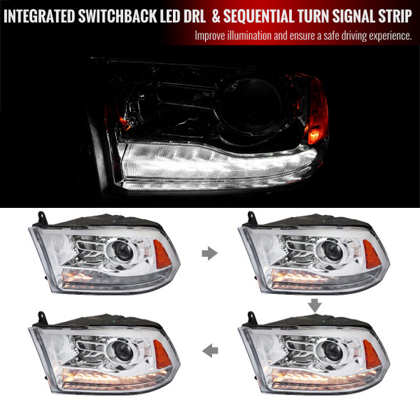 2009-2018 Dodge RAM 1500/ 2010-2018 RAM 2500/3500 LED Bar Projector Headlights w/ Switchback Sequential Turn Signals (Chrome Housing/Clear Lens)