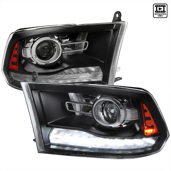 2009-2018 Dodge RAM 1500/ 2010-2018 RAM 2500/3500 LED Bar Projector Headlights w/ Switchback Sequential Turn Signals (Matte Black Housing/Clear Lens)