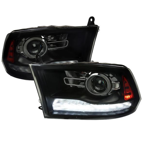 2009-2018 Dodge RAM 1500 / 2019-2021 RAM Classic / 2010-2018 RAM 2500 3500 Switchback Sequential LED Bar Projector Headlights (Jet Black Housing/Smoke Lens)