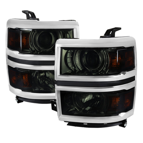 2014-2015 Chevrolet Silverado 1500 Projector Headlights (Glossy Black Housing/Smoke Lens)