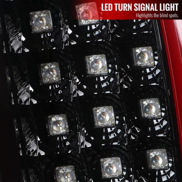 2007-2009 Dodge RAM 1500/2500/3500 Red C-Bar LED Tail Lights (Jet Black Housing/Clear Lens)