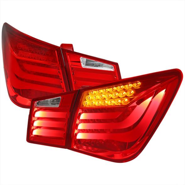 2011-2016 Chevrolet Cruze White Bar LED Tail Lights (Chrome Housing/Red Clear Lens)