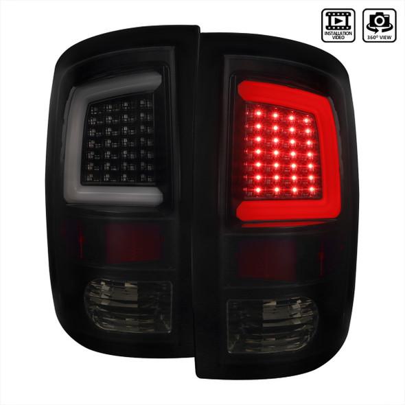 Dodge RAM 1500/2500/3500 White Bar LED Tail Lights (Glossy Black Housing/Smoke Lens)