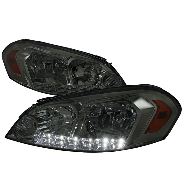 2006-2015 Chevrolet Impala/Monte Carlo Factory Style Crystal Headlights w/ SMD LED Light Strip (Chrome Housing/Smoke Lens)