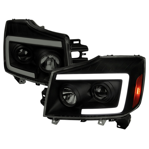2004-2015 Nissan Titan/ 2004-2007 Armada LED C-Bar Projector Headlights w/ Switchback Sequential Turn Signals (Black Housing/Smoke Lens)