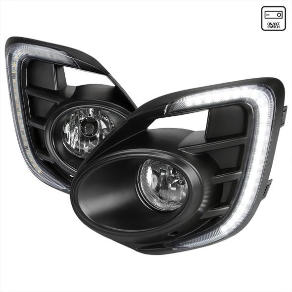 2016-2017 Mitsubishi Lancer H16 Fog Lights Kit w/ Integrated LED Light Strip & Turn Signal Lights (Chrome Housing/Clear Lens)
