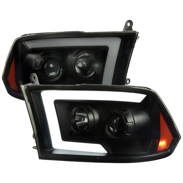 2009-2018 Dodge RAM 1500 / 2010-2018 RAM 2500/3500 Switchback Sequential LED C-Bar Projector Headlights (Jet Black Housing/Smoke Lens)