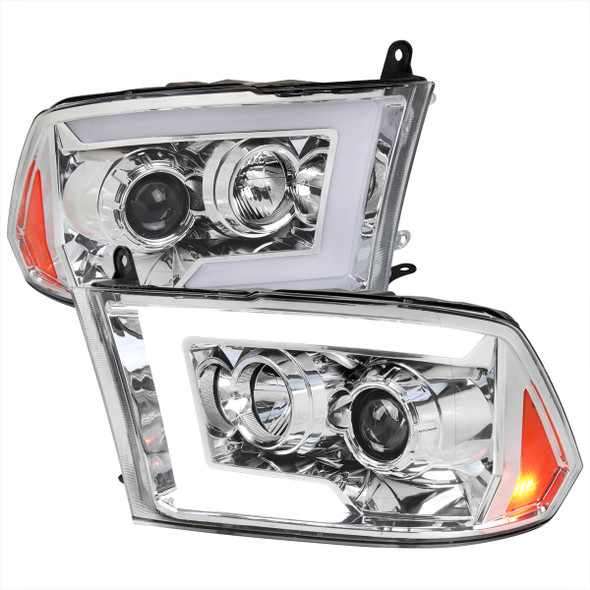 2009-2018 Dodge RAM 1500 / 2010-2018 RAM 2500/3500 Switchback Sequential LED C-Bar Projector Headlights (Chrome Housing/Clear Lens)
