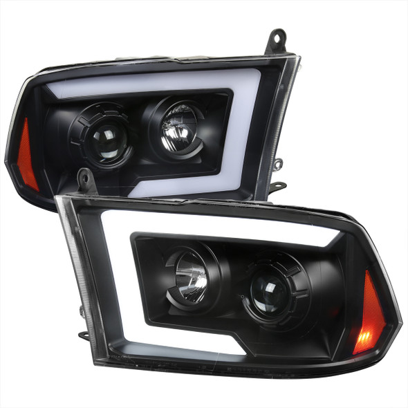 2009-2018 Dodge RAM 1500 / 2010-2018 RAM 2500/3500 Switchback Sequential LED C-Bar Projector Headlights (Matte Black Housing/Clear Lens)