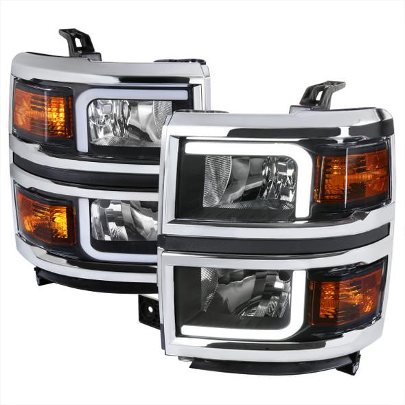 2014-2015 Chevrolet Silverado 1500 LED Bar Factory Style Headlights (Matte Black Housing/Clear Lens)