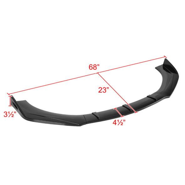 Universal Glossy Black Polypropylene 3PC Bumper Lip Set