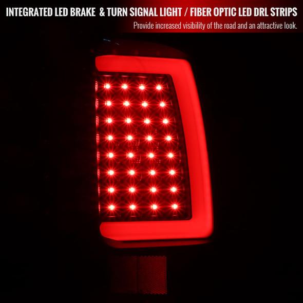 2007-2013 GMC Sierra 1500 / 2007-2014 Sierra 2500HD 3500HD C-Bar LED Tail Lights (Matte Black Housing/Clear Lens)