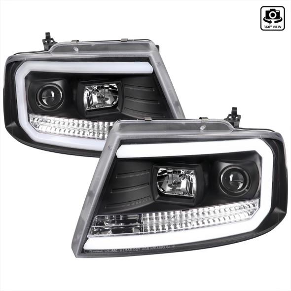 2004-2008 Ford F-150/ 2006-2008 Lincoln Mark LT LED C-Bar Projector Headlights (Matte Black Housing/Clear Lens)
