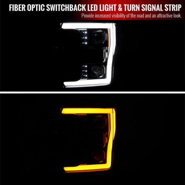 2017-2019 Ford F-250 F-350 F-450 F-550 Switchback LED C-Bar Projector Headlights (Jet Black Housing/Clear Lens)