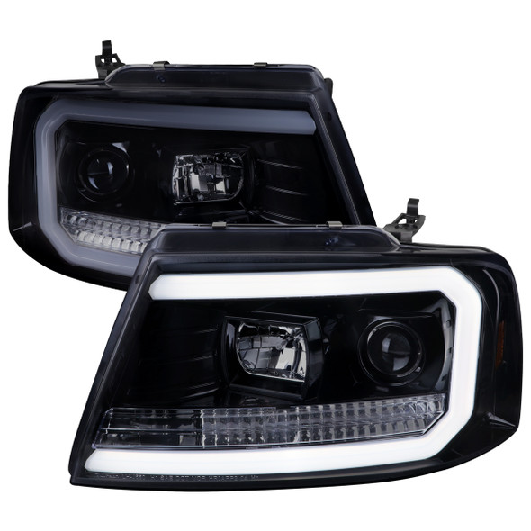 2004-2008 Ford F-150/ 2006-2008 Lincoln Mark LT LED C-Bar Projector Headlights (Glossy Black Housing/Smoke Lens)