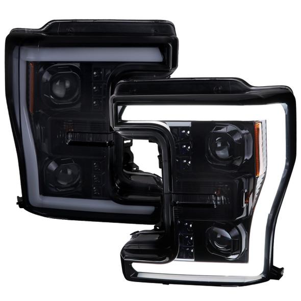 2017-2019 Ford F-250 F-350 F-450 F-550 Switchback LED C-Bar Projector Headlights (Glossy Black Housing/Smoke Lens)