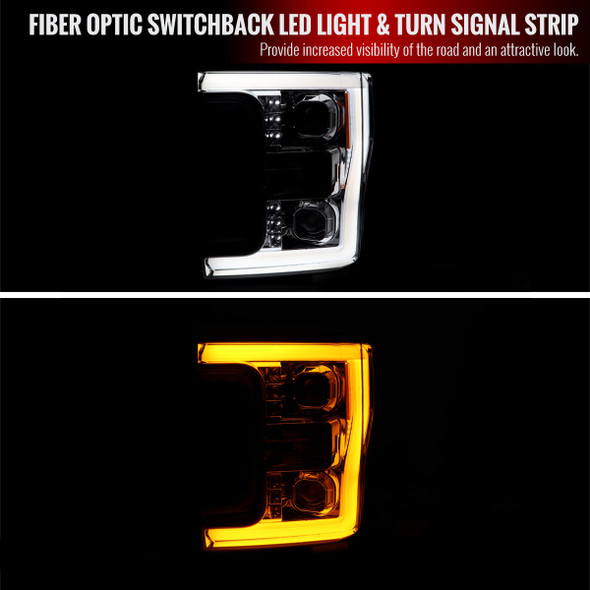 2017-2019 Ford F-250 F-350 F-450 F-550 Switchback LED C-Bar Projector Headlights (Chrome Housing/Clear Lens)