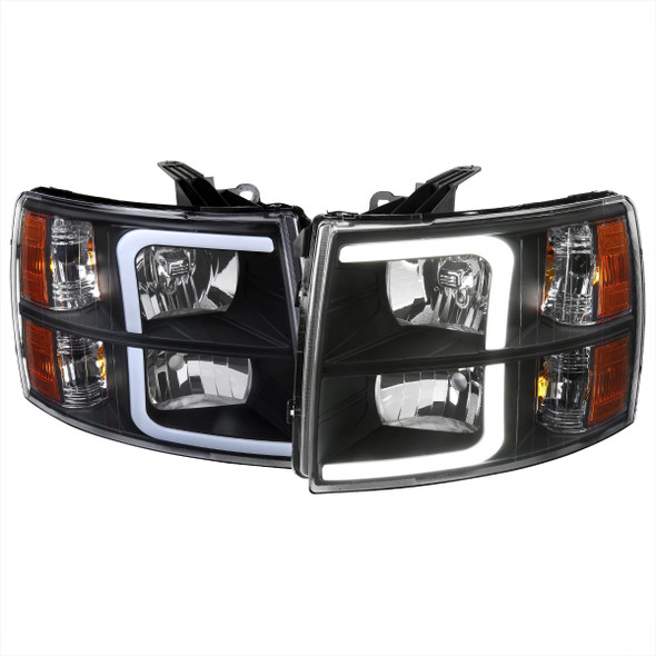2007-2013 Chevrolet Silverado 1500/ 2007-2014 Silverado 2500HD 3500HD LED Bar Factory Style Headlights w/ Amber Reflector (Matte Black Housing/Clear Lens)