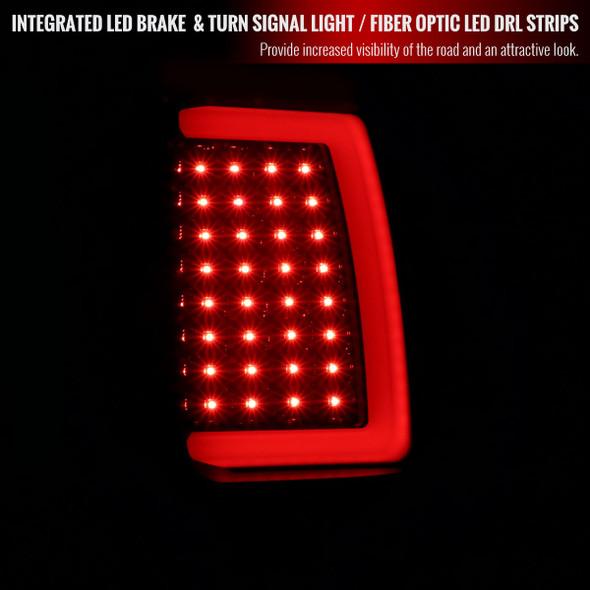 2007-2013 GMC Sierra 1500/ 2007-2014 Sierra 2500HD 3500HD LED Tail Lights (Glossy Black Housing/Smoke Lens)